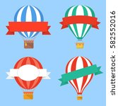 hot air balloons with ribbons | Shutterstock .eps vector #582552016