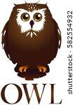 symbol of cute owl | Shutterstock .eps vector #582554932