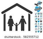 family cabin icon with bonus... | Shutterstock .eps vector #582555712