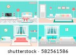 living room interiors set.... | Shutterstock .eps vector #582561586