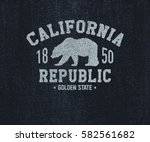 california t shirt with grizzly ... | Shutterstock .eps vector #582561682