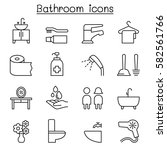 bathroom icon set in thin line... | Shutterstock .eps vector #582561766