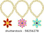precious stones set in gold | Shutterstock .eps vector #58256278