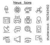 News Icon Set In Thin Line Style