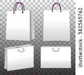 paper shopping bags set on... | Shutterstock .eps vector #582565762