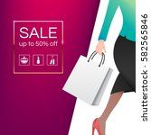 women with shopping bag. sale... | Shutterstock .eps vector #582565846