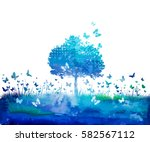 watercolor nature tree and... | Shutterstock .eps vector #582567112