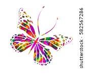rainbow butterfly. vector   Shutterstock .eps vector #582567286