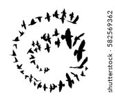 bird silhouette in a circle.... | Shutterstock .eps vector #582569362