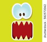vector green funny monster face.... | Shutterstock .eps vector #582572062