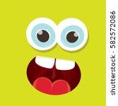 vector green funny monster face.... | Shutterstock .eps vector #582572086