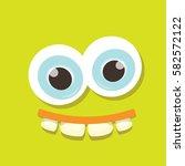 vector green funny monster face.... | Shutterstock .eps vector #582572122