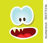 vector green funny monster face.... | Shutterstock .eps vector #582572146
