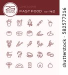 line icons with fast food set 2 | Shutterstock .eps vector #582577216