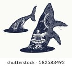 whale double exposure surreal... | Shutterstock .eps vector #582583492