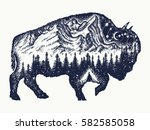 Bison Tattoo Art. Buffalo Bull...