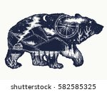 bear double exposure tattoo art.... | Shutterstock .eps vector #582585325