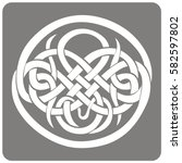 monochrome icon with celtic art ... | Shutterstock .eps vector #582597802