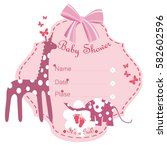 baby shower it's a girl. pink... | Shutterstock .eps vector #582602596