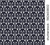 cat seamless pattern. vector... | Shutterstock .eps vector #582603832