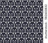 cat seamless pattern. vector... | Shutterstock .eps vector #582603832