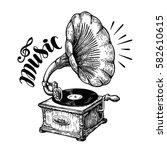 Hand Drawn Gramophone  Sketch....