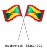 two grenadian crossed flags.... | Shutterstock .eps vector #582614302