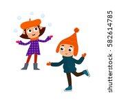 cartoon teenages in winter...   Shutterstock .eps vector #582614785