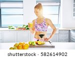 young healthy woman standing in ... | Shutterstock . vector #582614902