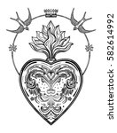 ornate decorative heart with... | Shutterstock .eps vector #582614992