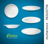 set of empty white plate on the ... | Shutterstock .eps vector #582620746