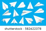 paper plane flat linear icons... | Shutterstock .eps vector #582622378