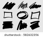 set of black paint  ink brush... | Shutterstock .eps vector #582632356