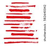 red vector brush strokes of... | Shutterstock .eps vector #582640342
