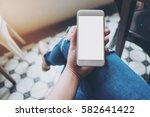 mockup image of hand holding... | Shutterstock . vector #582641422