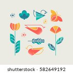 vector set of isolated spring... | Shutterstock .eps vector #582649192