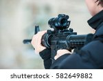 airsoft game gun from the side | Shutterstock . vector #582649882