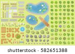 set of park elements.  top view ... | Shutterstock .eps vector #582651388