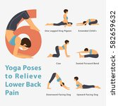 a set of yoga postures female... | Shutterstock .eps vector #582659632