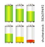 set of a battery level vector... | Shutterstock .eps vector #582659692