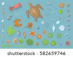 vector set of underwater sea... | Shutterstock .eps vector #582659746