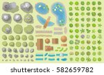 set of park elements.  top view ... | Shutterstock .eps vector #582659782