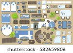 icons set of interior  top view ... | Shutterstock .eps vector #582659806