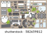 icons set of interior  top view ... | Shutterstock .eps vector #582659812