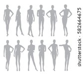 black silhouettes dummies... | Shutterstock .eps vector #582664675