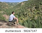 handsome young man sitting on... | Shutterstock . vector #58267147