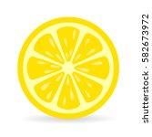 lemon slice vector icon... | Shutterstock .eps vector #582673972