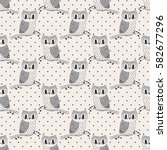seamless pattern with cute hand ... | Shutterstock .eps vector #582677296