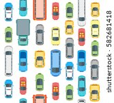 different cars top view... | Shutterstock .eps vector #582681418