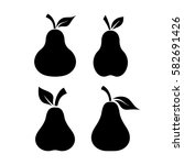 pear fruit black shape vector... | Shutterstock .eps vector #582691426